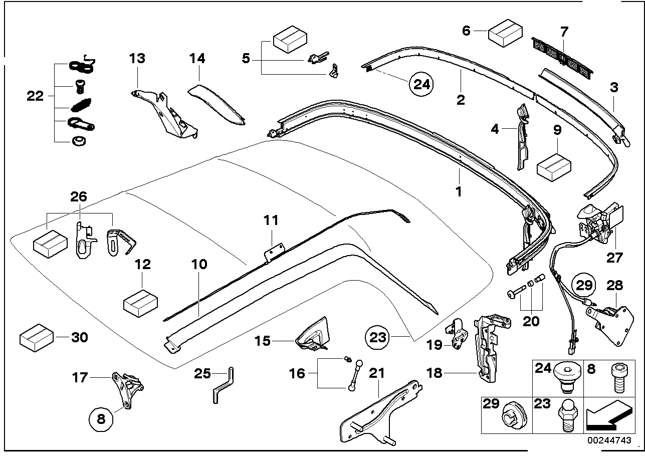 mini r52 cabrio one - ece - schiebedach verdeck
